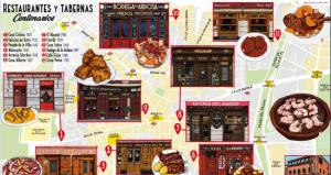 Mapa cultural ilustrado restaurantes centenarios